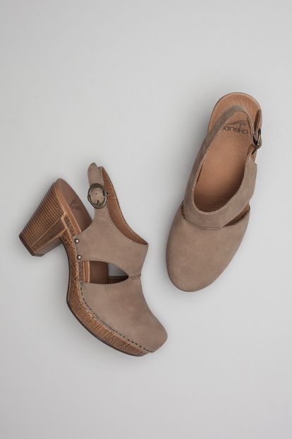 The Dansko Riley Taupe Milled Nubuck from the Riley collection.