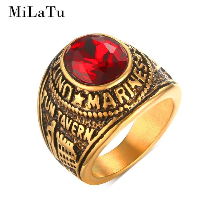 MiLaTu 21 MM Punk KAMI Marinir Cincin Untuk Pria Stainless Steel Merah Berlian Imitasi CZ Berlian-perhiasan Pria Perhiasan Antik R495G