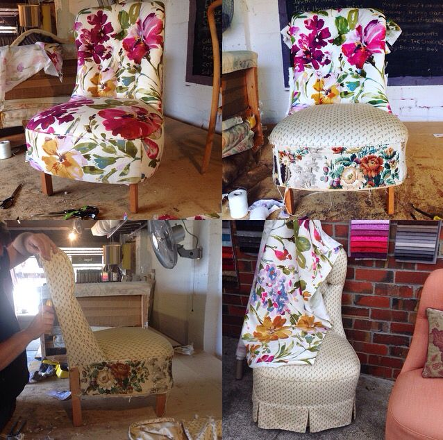 Ladies chair upholstered in Mokum Studio's Paint Palette Punch for Haven Home and Style.