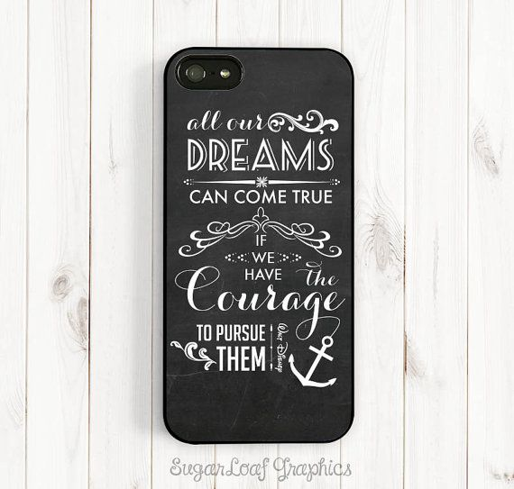 Dream Quote iPhone Case, Walt Disney Quote on Chalkboard, All Dream Can Come True, iPhone 5C/5S/6 Plus, Samsung Galaxy S3 S4 S5, Note 3 Qt09