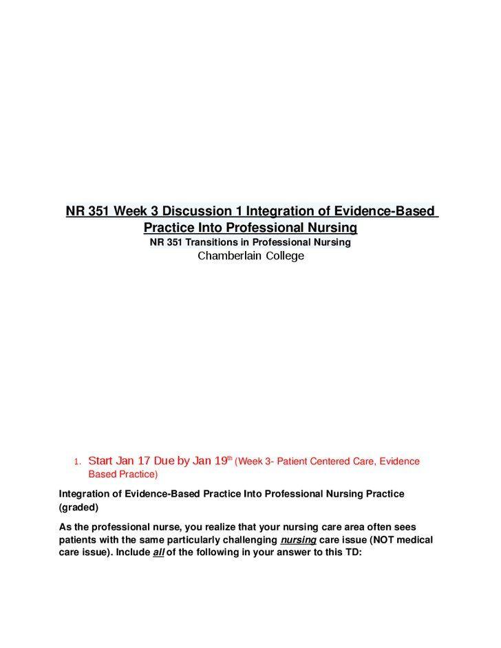 Integration of evidence based practice into professional nursing practice essay