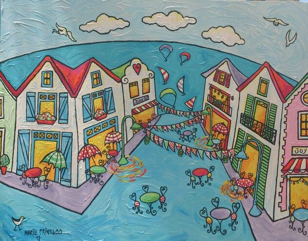 """Langebaan streetparty"" by Marie Prinsloo (for sale at Bay Gallery,Langebaan)"