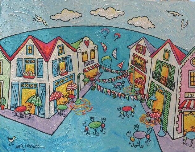 """""""Langebaan streetparty"""" by Marie Prinsloo (for sale at Bay Gallery,Langebaan)"""