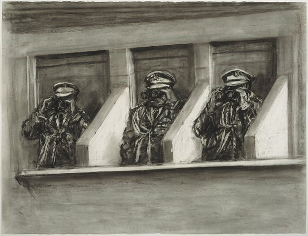 """William Kentridge, """"Drawing from Tide Table: Officers with Binoculars"""", 2003; drawing; charcoal on paper"""