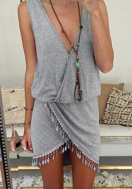 cute grey wrap dress with tassels, wear with a chunky cardigan on colder days