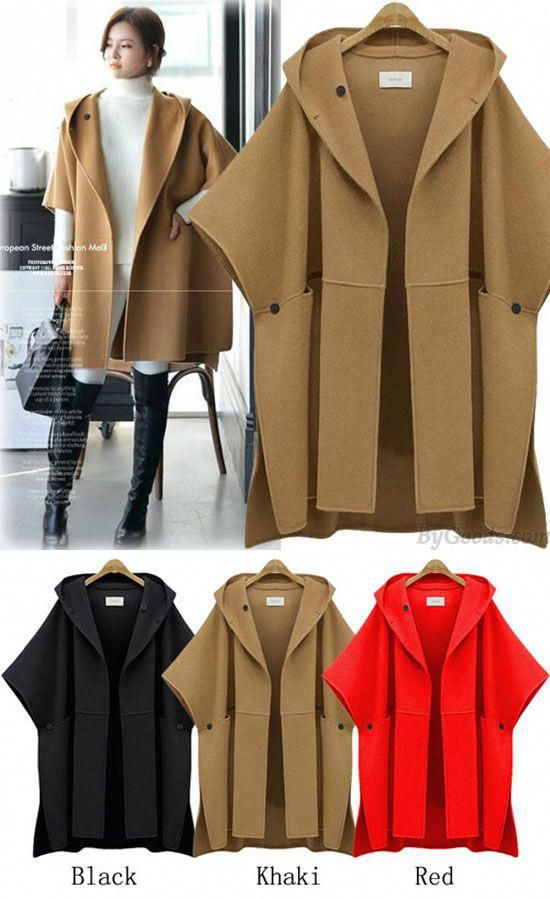 1ae80931c2e New Unique Hooded Batwing Sleeveless Cape Woolen Jacket Large Size Loose  Woolen Coat Winter Coat for big sale . Which color do you like