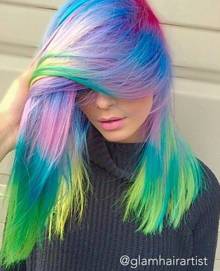 rainbow neon dyed hair color inspiration