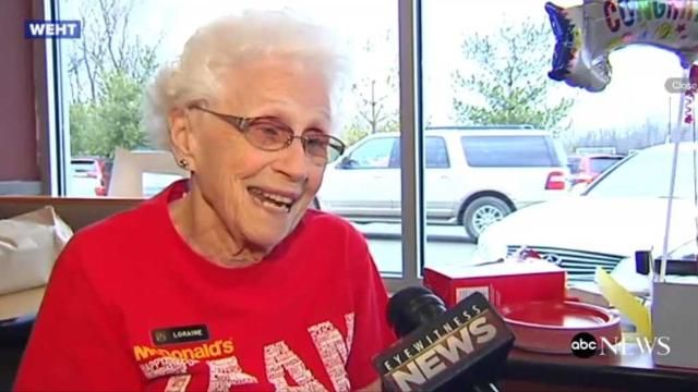The franchisee of a US McDonald's restaurant has thrown a party to celebrate a long-serving 94-year-old employee's 44 years of service.