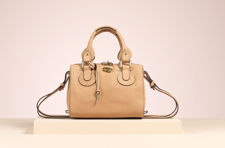 Chloe \u0026quot;Aurore\u0026quot; small duffle with strap in camel grained supple ...