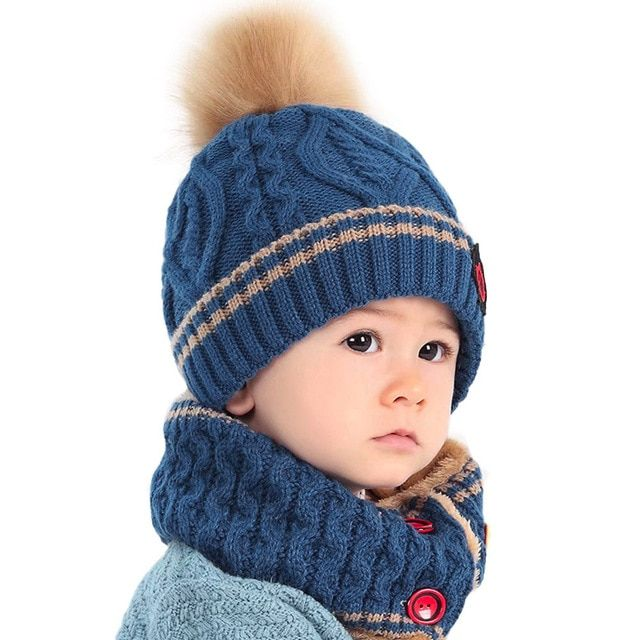 Soft Baby Warm Beanie Caps Earflaps Hat Toddler Girl Boy Knit Fur Ball Hats