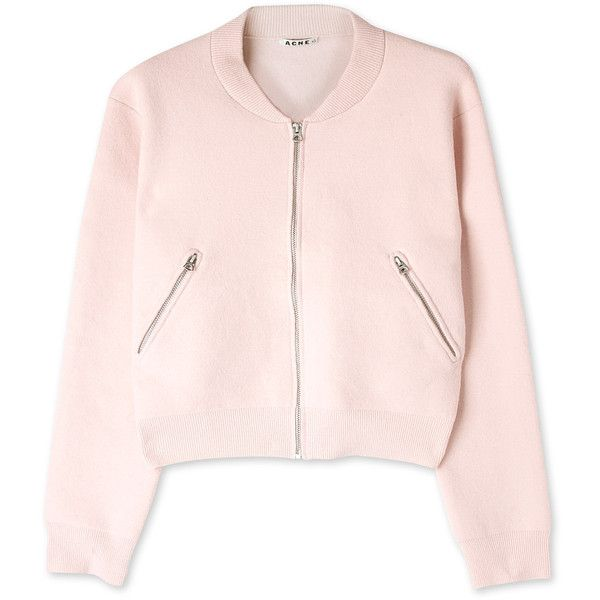 Acne Olympia Cropped Bomber Cardigan ($350) ❤ liked on Polyvore featuring tops, cardigans, jackets, outerwear, pink top, long sleeve cardigan, zipper top, ribbed cardigan e crop top