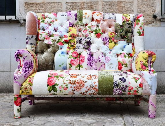 Dream sofa unfortunately sold tear floral wing back for Patchwork couch