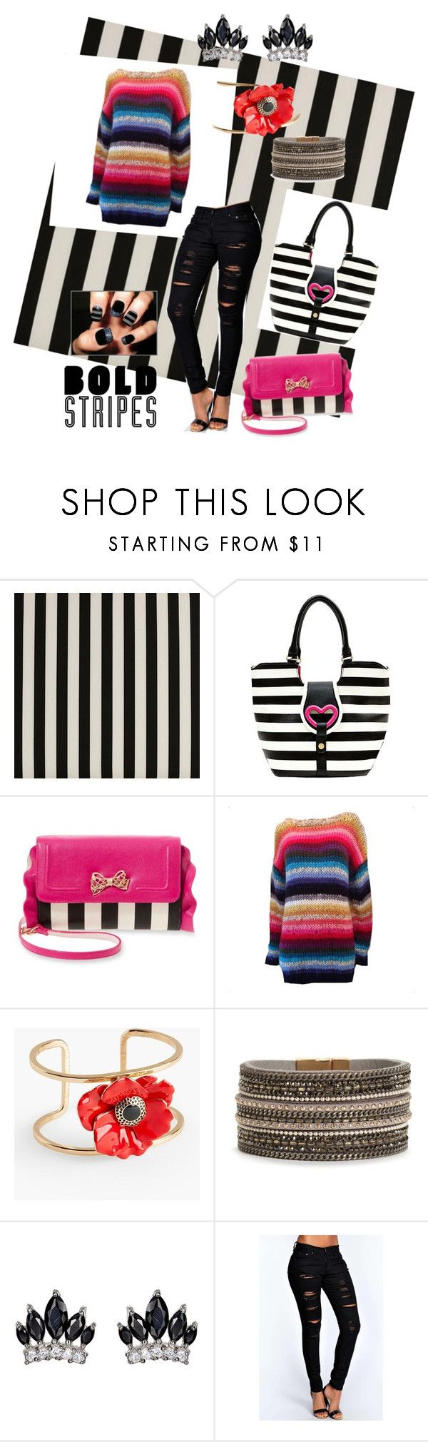 """""""Bold stripes"""" by stina715 ❤ liked on Polyvore featuring Cost Plus World Market, Betsey Johnson, Rose Carmine, Talbots, Fallon, Boohoo, stripes and BoldStripes"""
