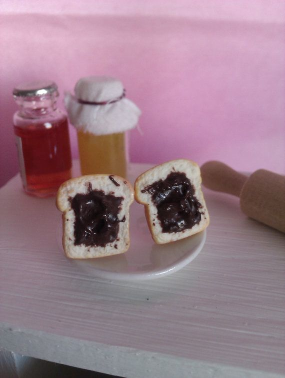 Handmade polymer clay earring slices bread  with by MiniCose, €10.00