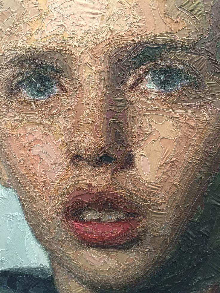 Ramazan Bayrakoglu 1966- Detail from Portrait of Stefan Clupczynski (2015). Stitched fabric mounted on canvas