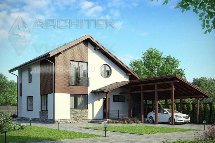 Проект дома из газобетона с мансардой и гаражным навесом