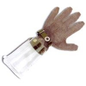 Guantes de malla acero manguito policarbonato CHAINEX - Exisen modelos con manguitos de diferentes medidas, en malla de acero o rígidos de policarbonato. (Se vende por unidad)  Malla de acero inoxidable.  http://www.janfer.com/es/anticorte-de-uso-alimentario/983-guantes-malla-acero-manguito-policarbonato-chainex.html