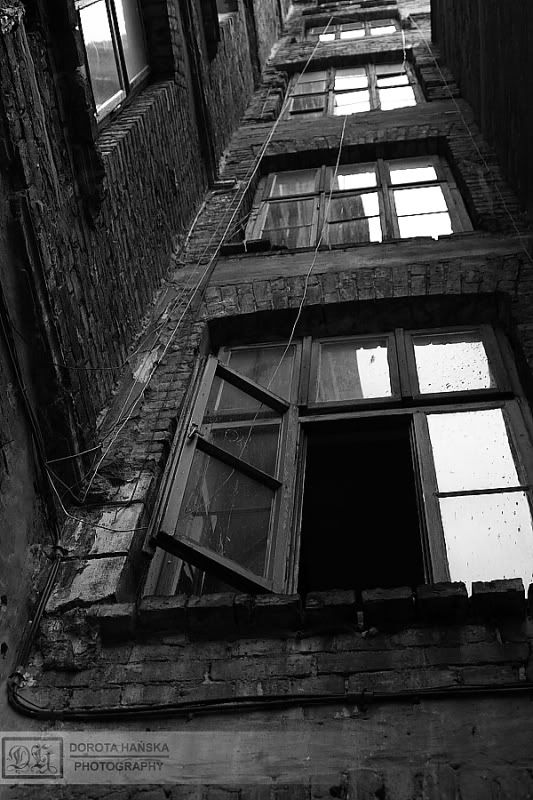 Windows in old tenement - Praga, Warsaw's art district