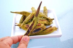 Kale Chips are out, Okra Chips are in - not like the okra chips you buy at the store. More like roasted okra. Tastes great either way