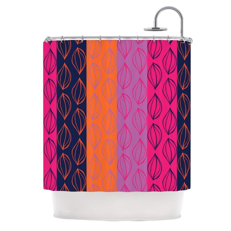 Kess InHouse Anneline Sophia Tropical Seeds Pink Orange Shower Curtain