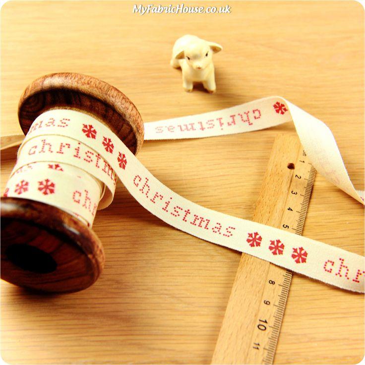 Christmas ♥ 3m Cotton Ribbon - Scandi Merry Christmas & Snow Flakes (15mm) £4.50