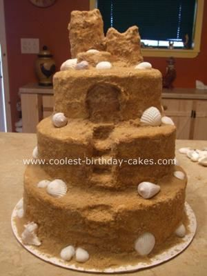 Sand Castle Cake: I made this Sand Castle cake for a wedding reception. It is a three layer cake and I just cut out the steps and doors. The icing is buttercream with brown
