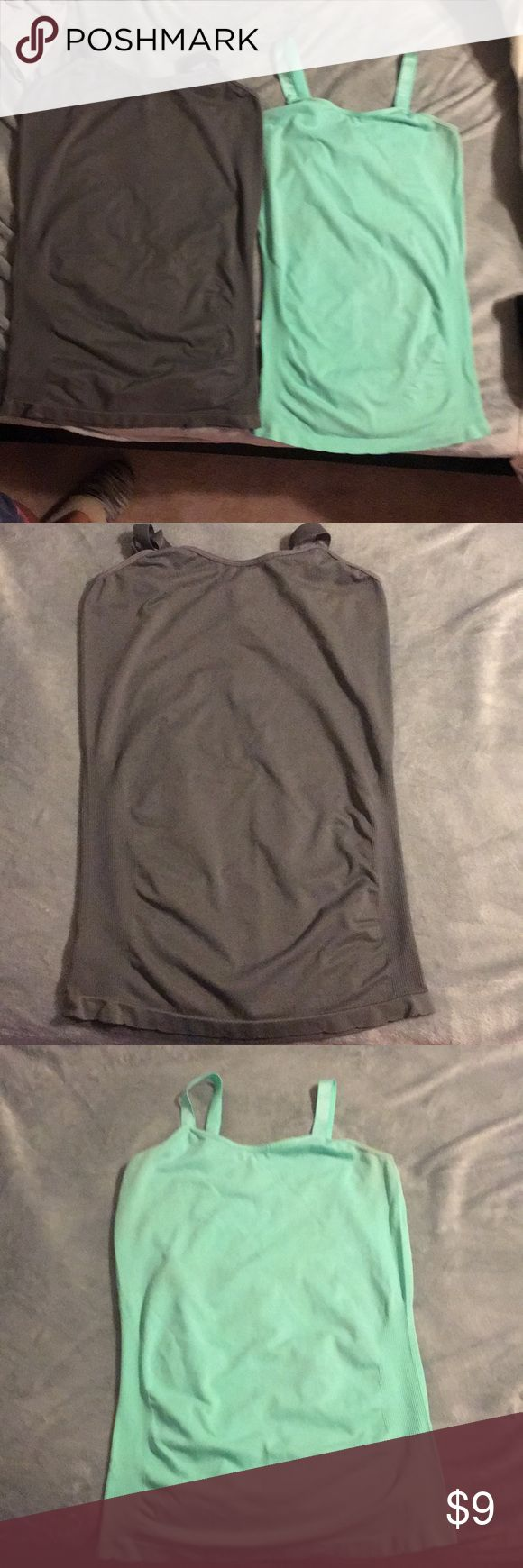 Maternity camis Breathable polyester maternity tanks. Mint & dark grey. Tags are worn down but they're a size large :) fantastic condition Tops Tank Tops