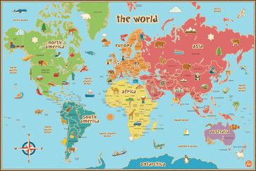 Kids' Dry-Erase World Map Wall Decal - contemporary - Kids Wall Decor - WallPops
