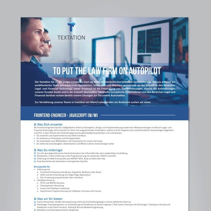 Single-Page Job Advertisement (Template) for a Corporate Startup by ACBTY