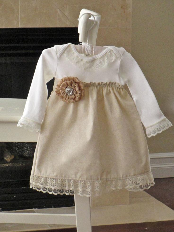 Shabby Chic dress baby girls vanilla cream lace onesie dress with flower pin. Newborn - 24 m