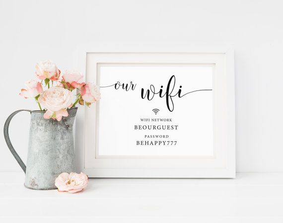 Wifi Password Sign, Printable Wifi Sign, Wifi Wedding Sign, We Have Wifi Sign, Wifi Sign, Internet Password, Guest Room Decor, Wifi Print