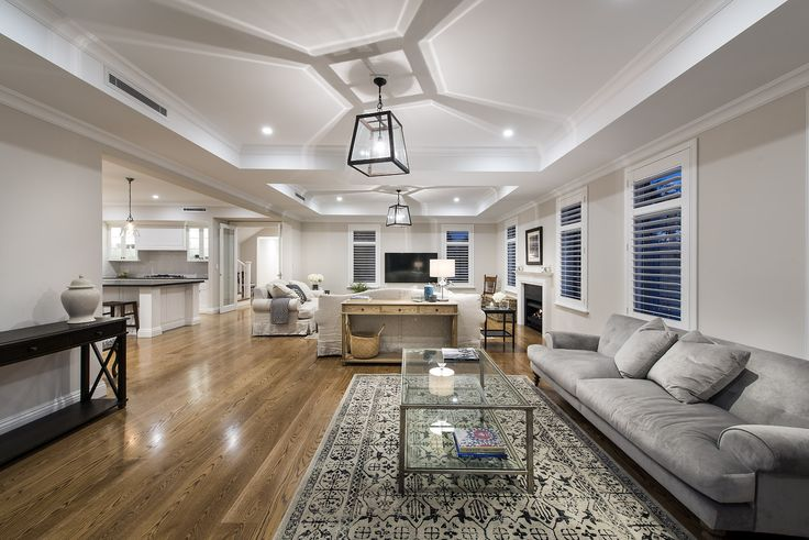 Hamptons style living room - Oswald Homes