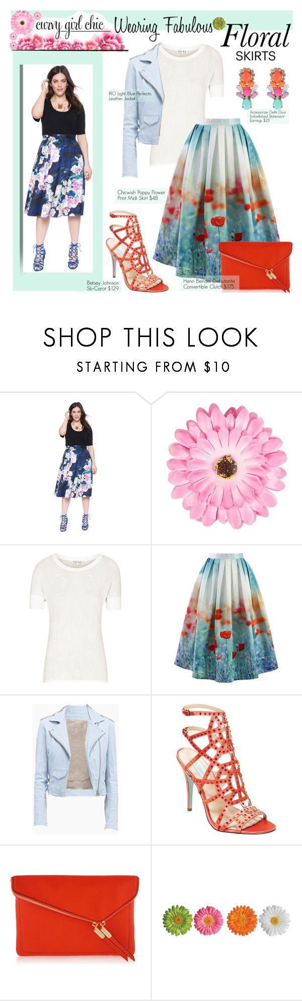 """""""Floral Skirts with Curvy Girl Chic"""" by girlsboysclosets ❤ liked on Polyvore featuring NLY Accessories, Reiss, Chicwish, Betsey Johnson, Henri Bendel, Accessorize, contestentry and PVCurvyChic"""