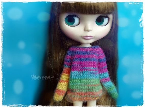 For sale is the outfit which includes: - hat - sweater  You can choose only hat, only sweater, or the entire outfit (hat + sweater).  ¨¨¨°º©º°¨¨¨¨¨¨°º©º°¨¨¨¨¨¨°º©º°¨¨¨¨¨¨°º©º°¨¨¨°º©º°¨¨¨¨¨¨°º©º°¨¨¨  Knitted outfit / set in Blythe size, made from super soft yarn (mohair) with a soft fluffy finish in multicolor rainbow color. There is a seam down on the back of the sweater, with a wooden button for easy dressing.  Outfit is completely hand knitted.  This outfit is OOAK (one of a kind) and ...