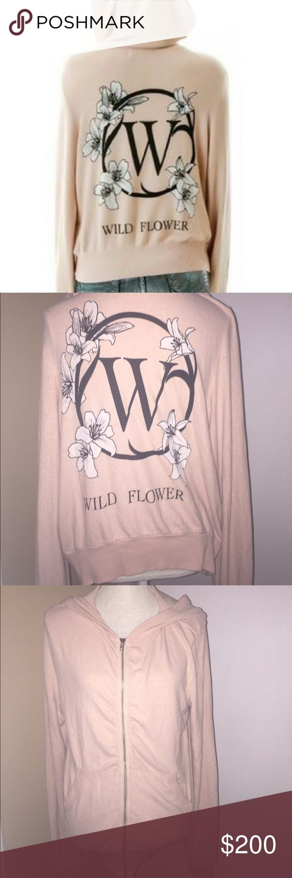 🆕 Wildfox 'Wild Flower' Malibu zip-up hoodie M NWT Wildfox Couture 'Wild Flower' Malibu Zip-Up Hoodie size Medium. Perfect brand new condition. The color is a nude not pink.  Please ask any questions you may have prior to purchasing. 🚫trades🚫 Wildfox Tops Sweatshirts & Hoodies