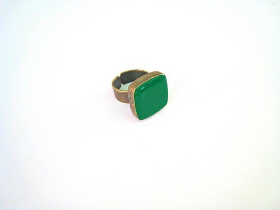 Emerald green ring bronze green statement ring jade moss