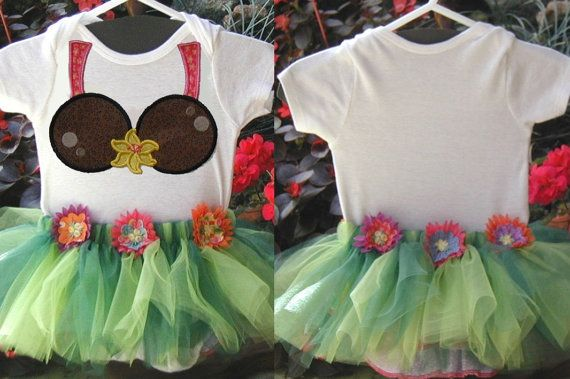 Hawaiian Hula Coconut Bikini Bodysuit Outfit with Tutu for Baby Girl on Etsy, $30.00