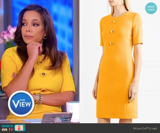 Sunny's yellow gold embellished button dress on The View.  Outfit Details: https://wornontv.net/84011/ #TheView
