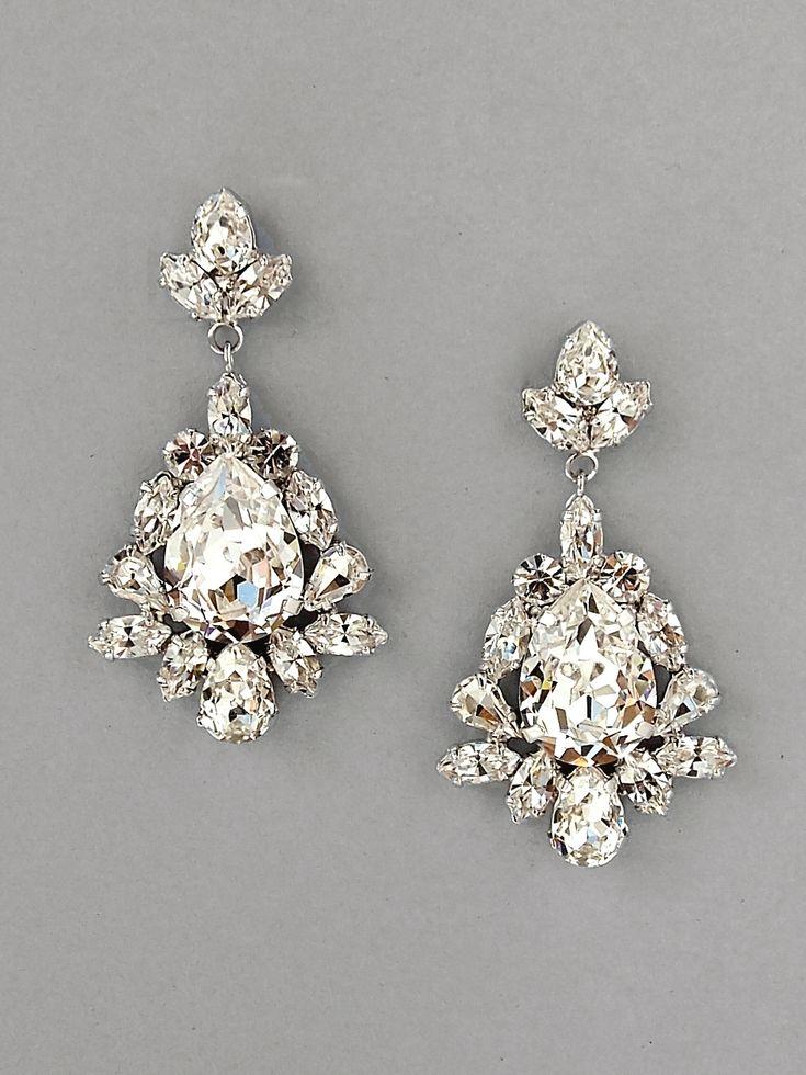 SANDRA - Crystal Pear Drop Earrings