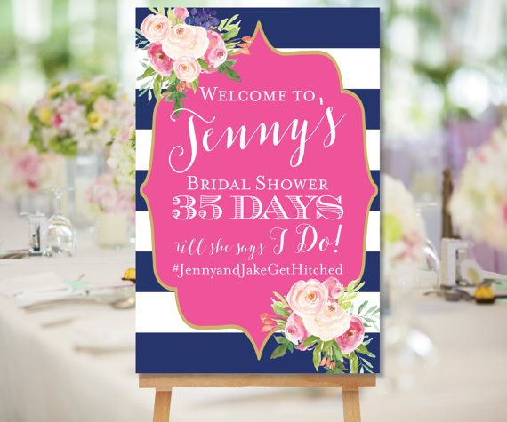 Wedding Countdown Printable, Bridal Shower Welcome Sign, Days Till She Says I Do…
