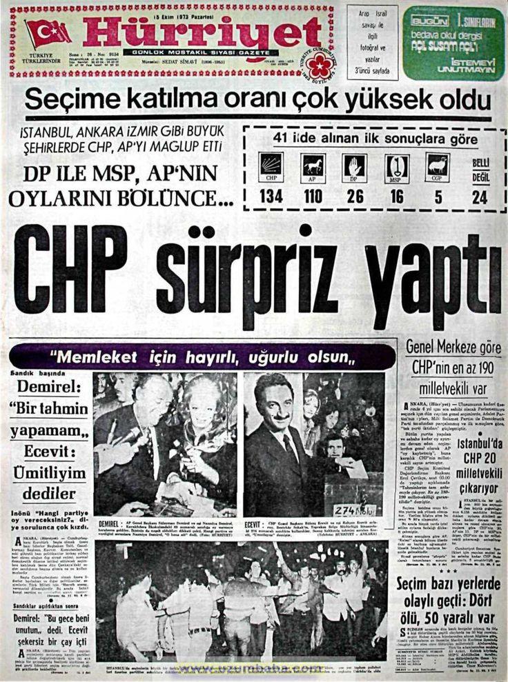 Hürriyet gazetesi 15 ekim 1973
