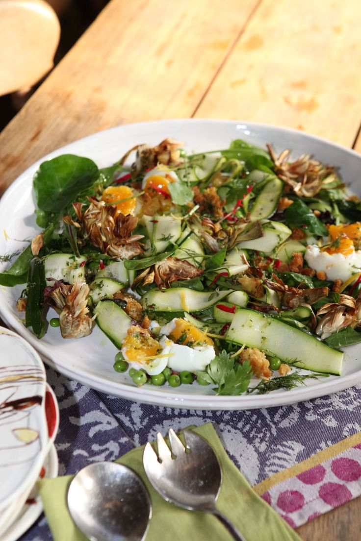 Autumn salad of eggs, wild herbs and seeds.