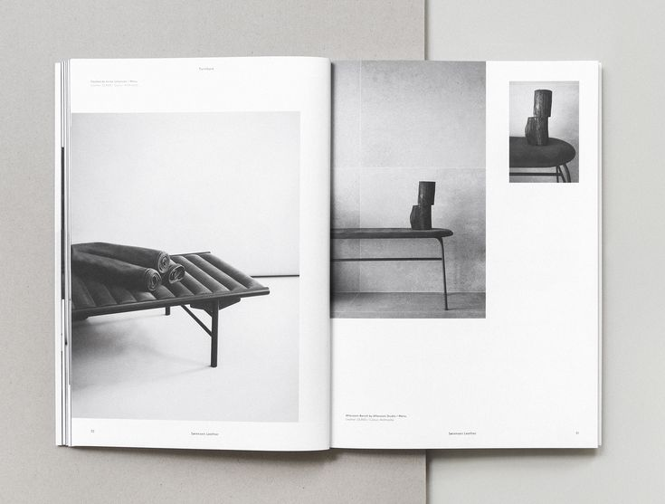 Menu Daybed by Anita Johanssen crafted with Sorensen Leather. Page from our Brand Book 2nd Edition designed and photographed by Norm Architects.