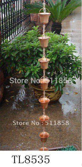 Купить товарСамые продаваемые медный колокол цепи дождь, 100% меди, С бесплатной водостоков адаптер в категории Садовые украшенияна AliExpress.  Медь Дождь 1. Размер: 8x8x182 см 2. Материал: 99% меди 3. Weightt: 0.6 кг 4.9 чашки, с желоба адаптер         &nb