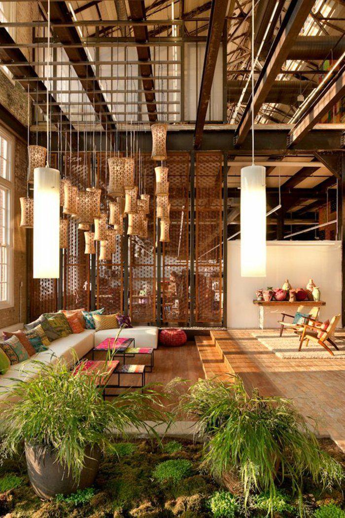 décoration japonais, lustre moderne, plante verte d'intérieur décoration