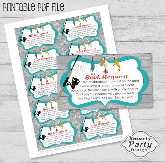 Matching Fishing Book Request Insert for Baby Shower Printable