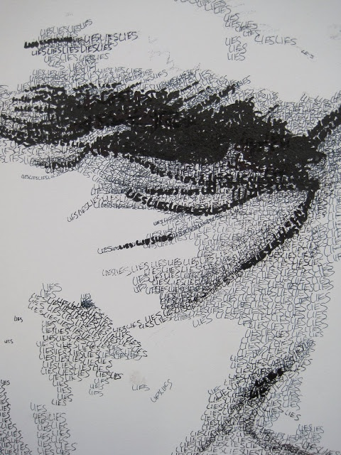 Words as line/shading.  Good idea - going to use positive words though.  Text drawing: Jamie Glynn Finnegan
