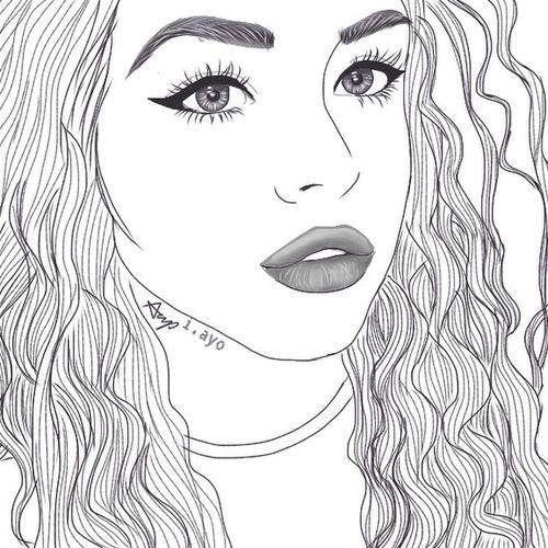 Imagen de outline, drawing, and girls