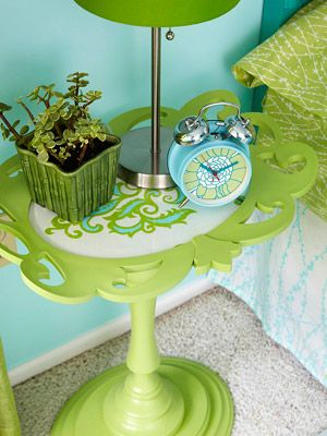 Wow. Awesome. Bed side table from a frame, candlestick and wooden plaques. #bhg/diy #bedroom