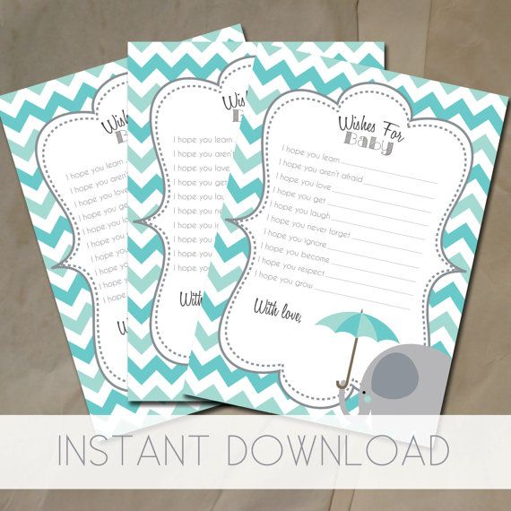Wishes for baby printable baby shower games in turquoise chevron. by littleposhstudio